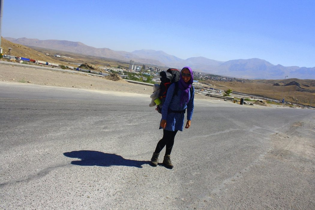 Hitchhiking to Iran. Women must wear a scarf when they go out in Iran.