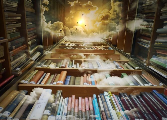 Library, Heaven, Birds, Mystical, Clouds
