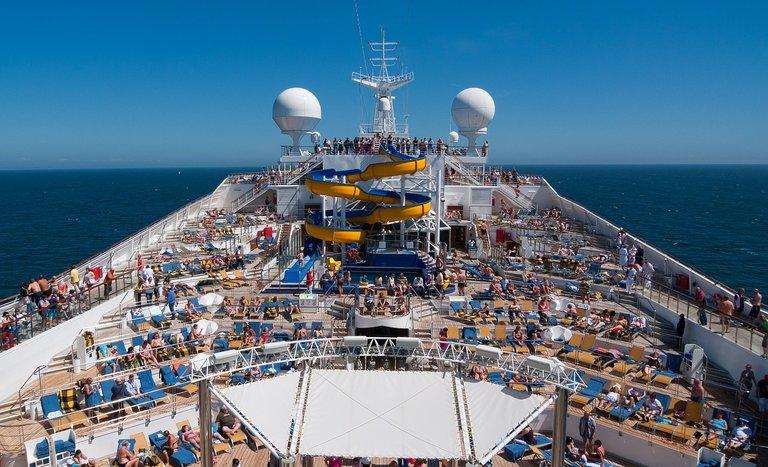 Passengers on a large cruise ship.