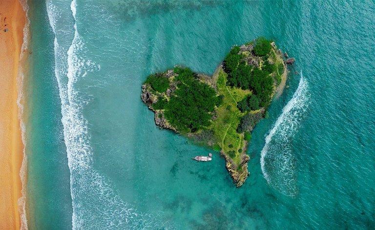 A heart shaped island.