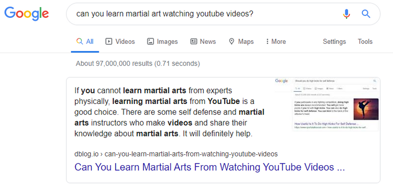 Search result about learning martial arts watching YouTube videos.PNG
