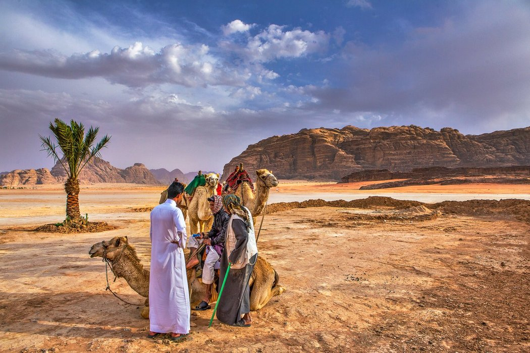 Getting our camels ready in Wadi Rum