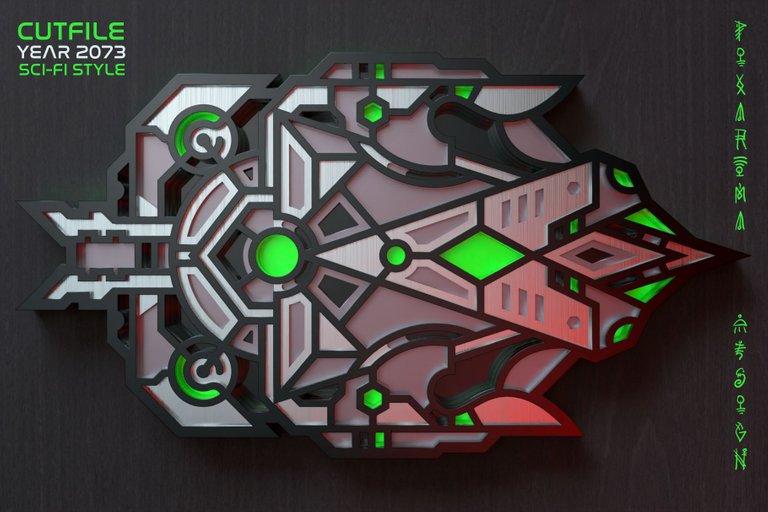 8 Futuristic Wall Sculpture 3D Layered SVG Cut File Preview 8.jpg