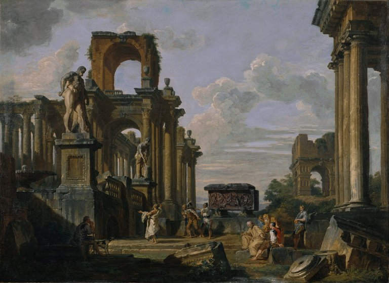 Giovanni_Paolo_Panini__An_Architectural_Capriccio_of_the_Roman_Forum_with_Philosophers_and_Soldiers_among_Ancient_Ruins,_in...__Google_Art_Project.jpg