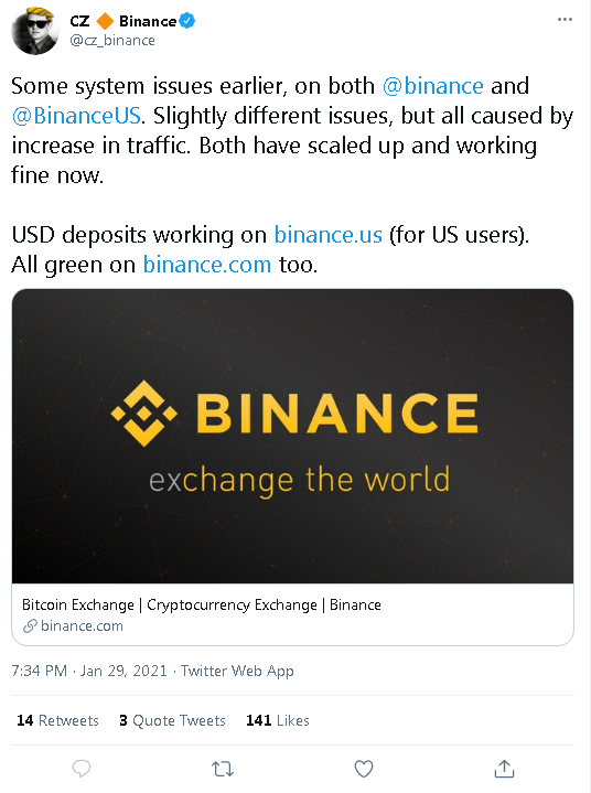 20210129 19_40_26CZ 🔶 Binance on Twitter_ _Some system issues earlier, on both binance and Bin.png