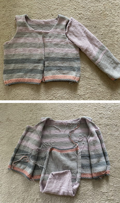 Handknitted Broadwalk sweater with unfinished seams in pastel colours