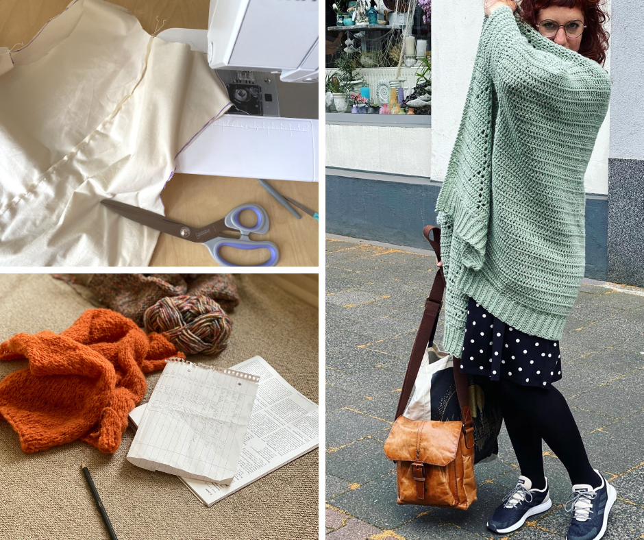 a collage of three photos: unfinished knitting projects, a unfinihsed sewing project and Simone wearing a finished crochet cardigan in mint