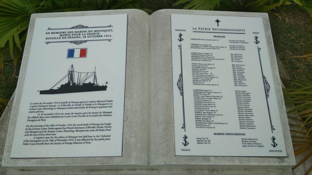 En memoire des marins du mousquet, morts pour la france. Bataille de Penang, 28 Octobre 1914.