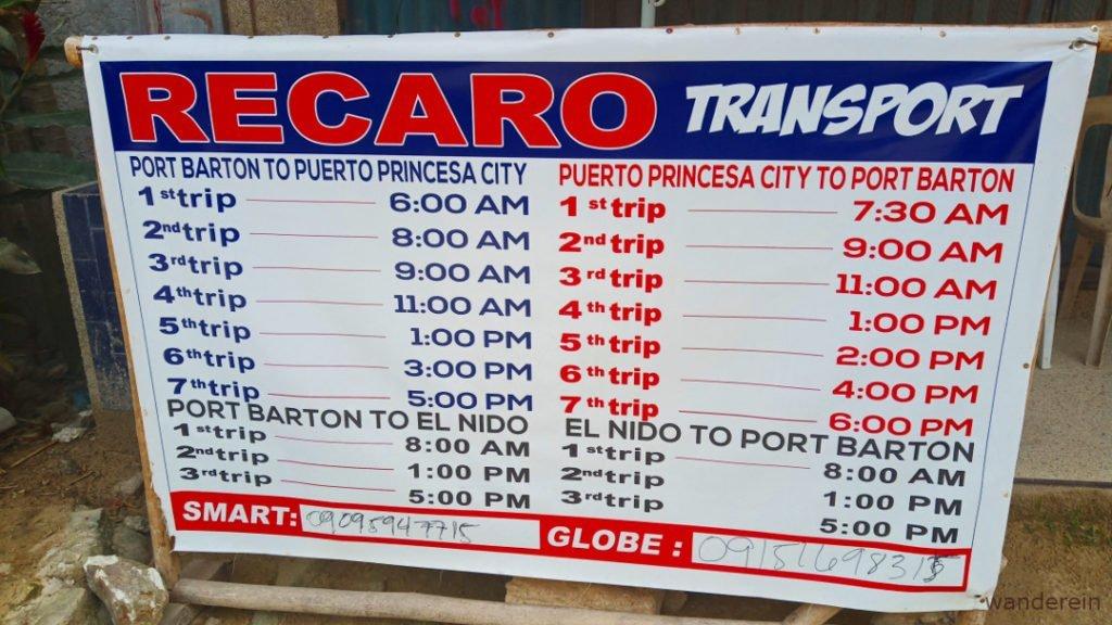 Port Barton Bus Van Schedule