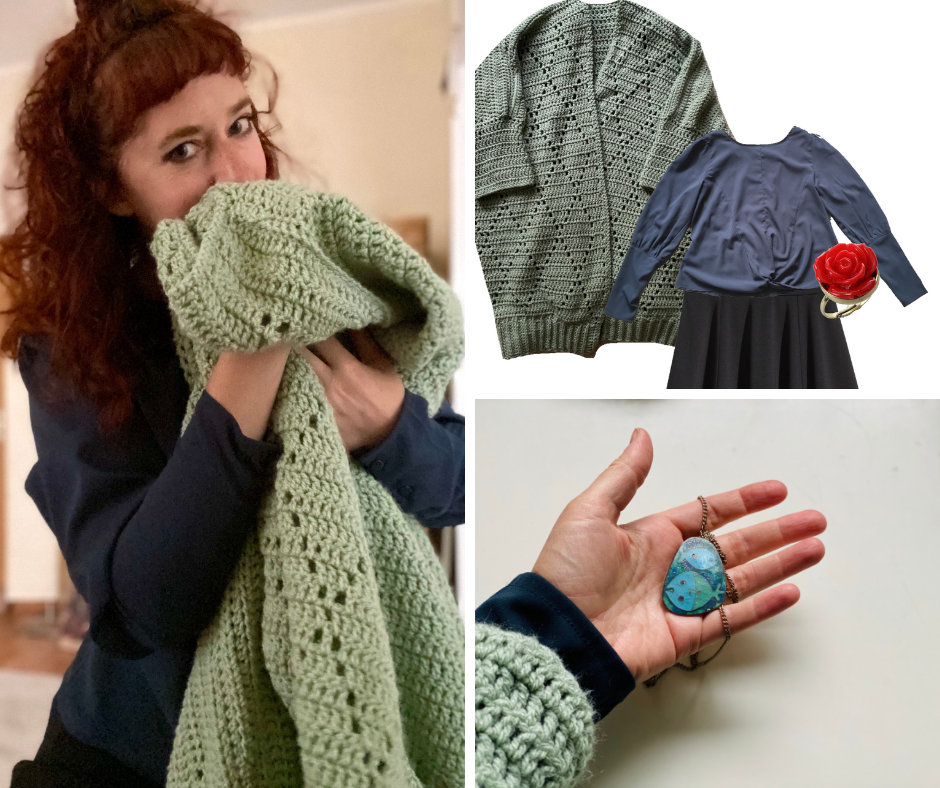 simone cuddling her huge crochet cardigan