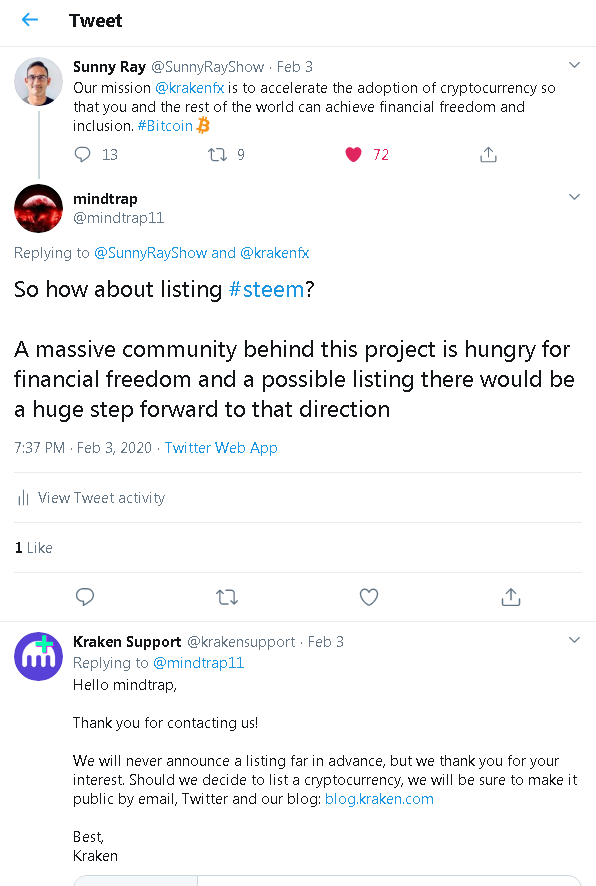 2020-02-05 22_37_01-mindtrap on Twitter_ _@SunnyRayShow @krakenfx So how about listing #steem_ A mas.png