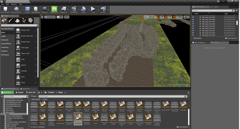 Unreal Engine placing down rocks meshes.png