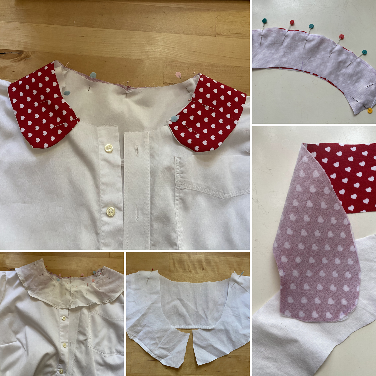 several steps how to attach a Peter pan collar and interfacing on a handmade blouse