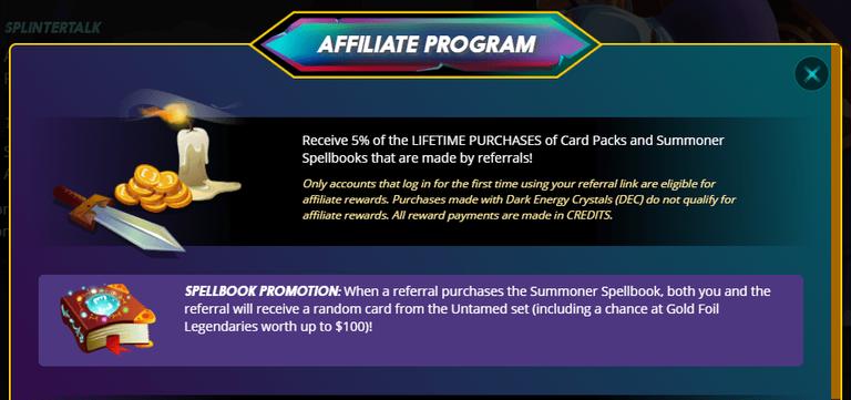 affiliate program in splinterlands How Much Can I Earn Playing Splinterlands
