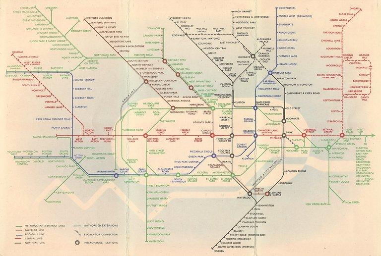 London Underground map - London tube diagram 1938