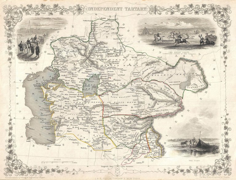 A highly decorative 1851 map of Independent Tartary by John Tallis and John Rapkin. Covers the regions between the Caspian Sea and Lake Bakquash and between Russia and Afghanistan. These include the ancient Silk Route kingdoms of Khiva, Tartaria, Kokand, and Bokhara. Today this region roughly includes Kazakhstan, Uzbekistan, Turkmenistan, Kyrgyzstan, and Tajikistan. This wonderful map offers a wealth of detail for anyone with an interest in the Central Asian portion of the ancient Silk Road. Identifies various caravan routes, deserts, wells, and stopping points, including the cities of Bokhara and Samarkand. Three vignettes by W. Bragg decorate the map, these including an image of Tartars on a Journey, a horseback Bride Chase, and a tartar camp site. Surrounded by a vine motif border. Engraved by J. Rapkin for John Tallis's 1851 Illustrated Atlas.