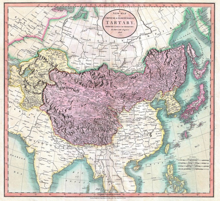 Map of independent Tartary (in yellow on the left) and Chinese Tartary (in violet), in 1806. (Source: Wikipedia)
