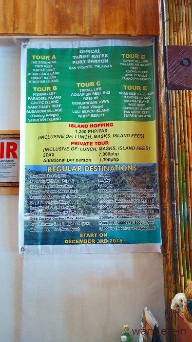 Port Barton Island Hopping Tour Prices/ Rates