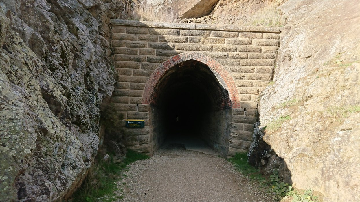 You can see the brick work at the entrance of the tunnel, which lasts for around 10m before the bare rock is exposed inside