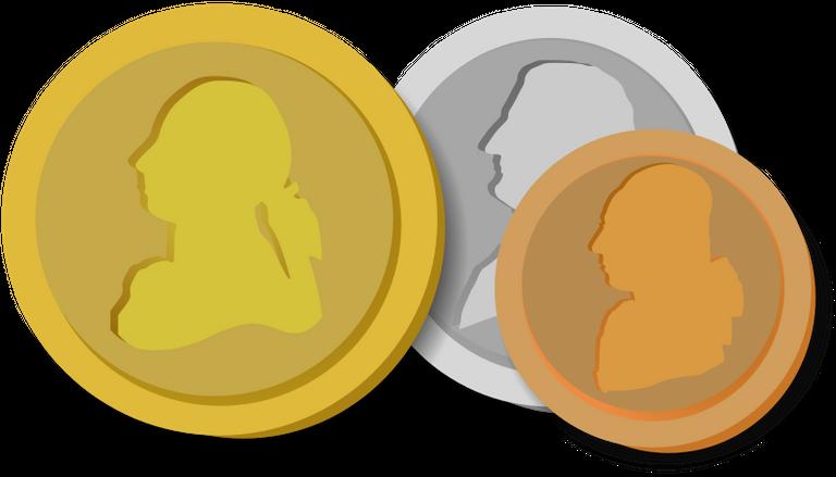 Desenho de três moedas