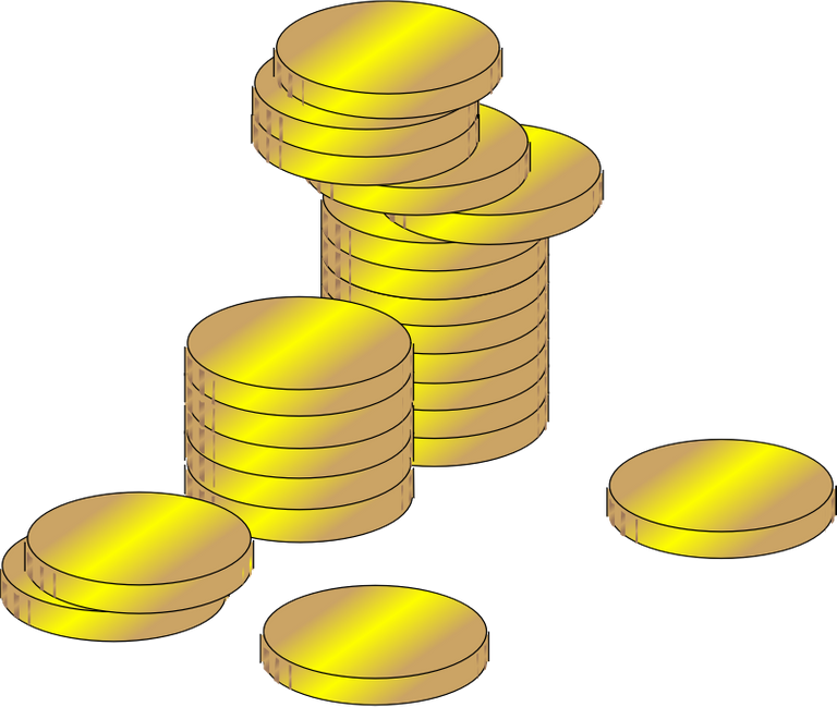 Image of two piles of gold coins, and a few coins out of the piles
