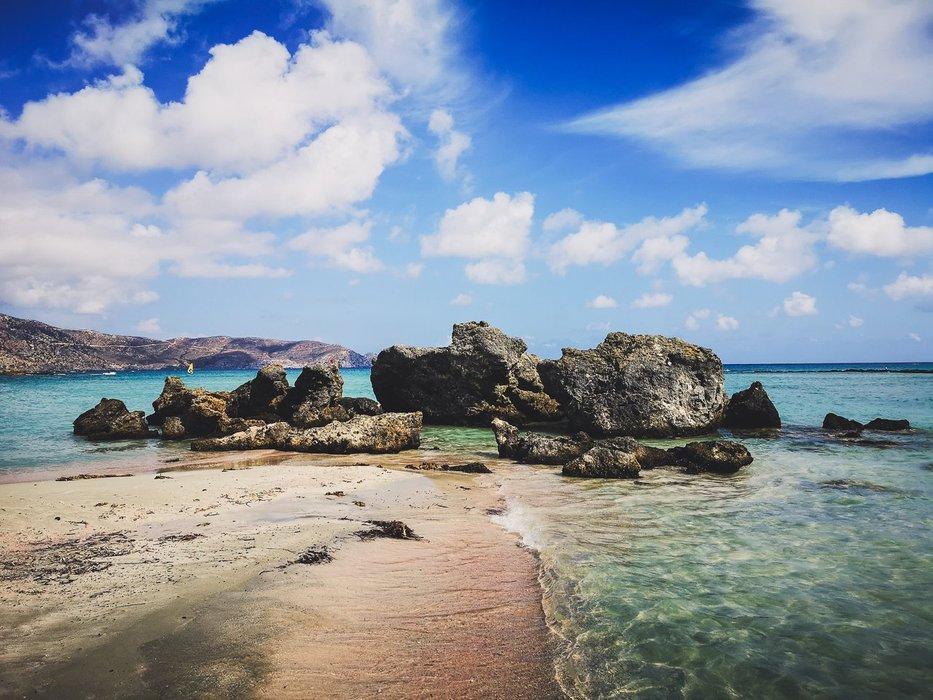 Purple sand and rocks of Elafonisi Beach, Crete Island