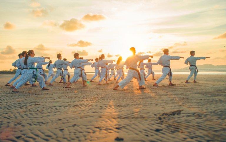 Practice martial art on the beach.jpg