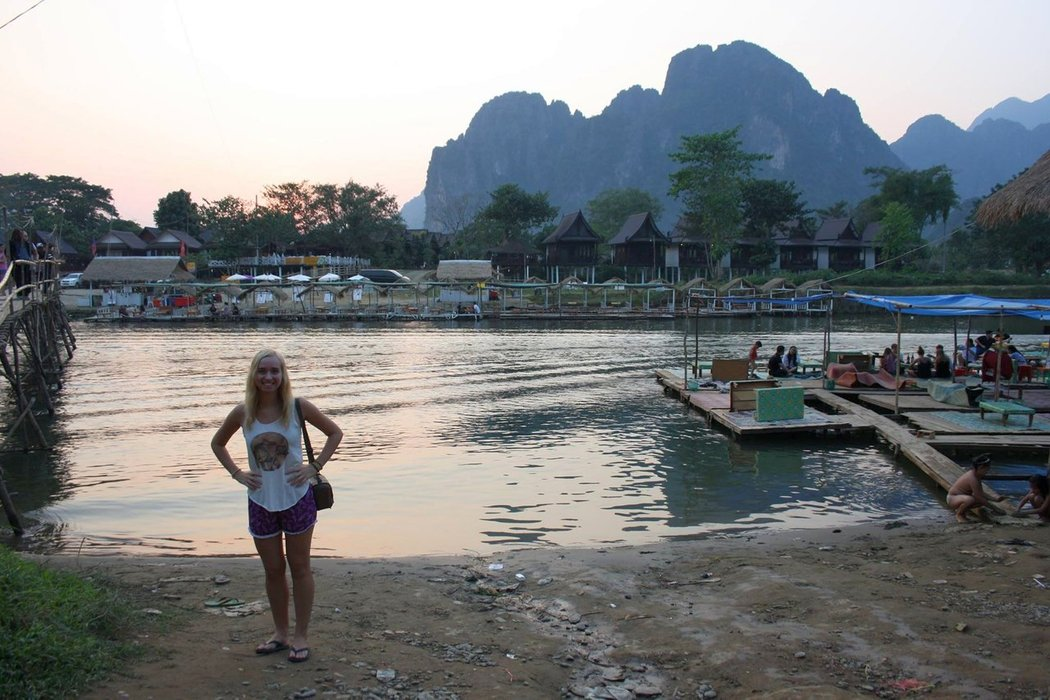 When we came to Vang Vieng, it was thriving with boutique hotels and high-end restaurants replacing some of the backpacker bars that used to pack the waterfront in the past.