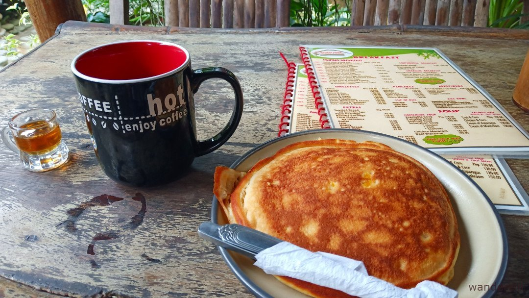 Fluffy pancake and my daily dose of hot calamansi with honey