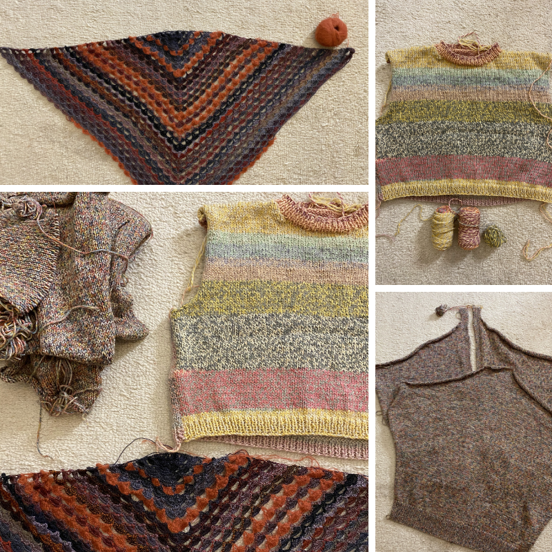 various knitting and crochet projects