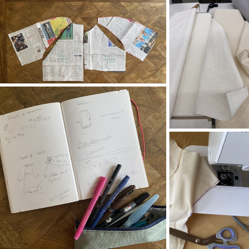 photo of a self drafted dress pattern, divers white fabrics and an artists notebook
