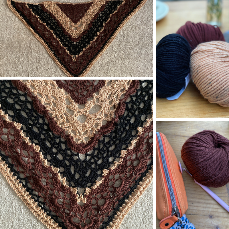 details of a lace crochet shawl in brownish wool