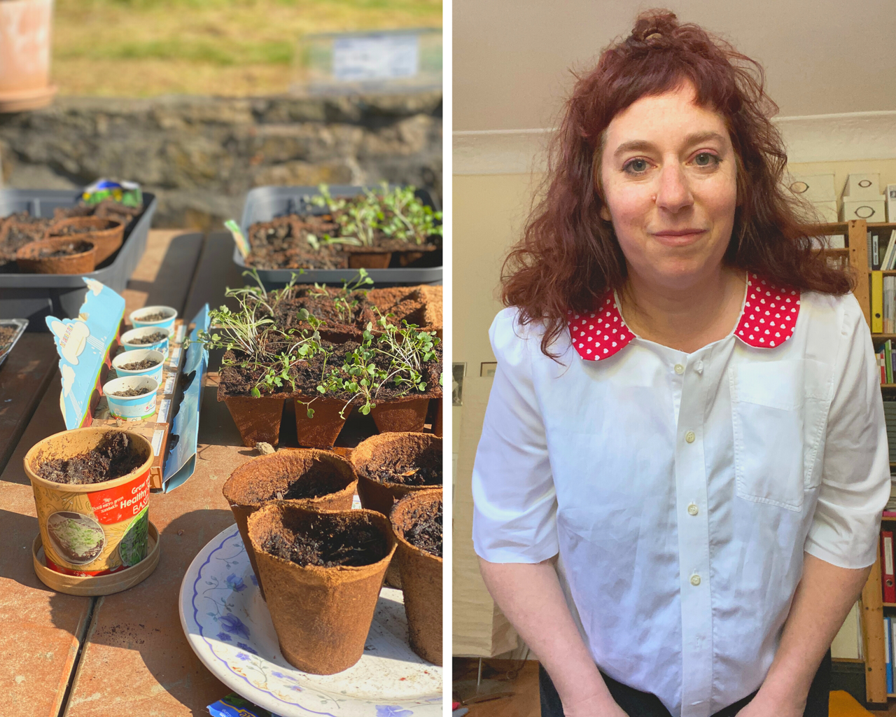 a photo of growing seedlings and an image of Simone wearing her handmade blouse with a red Peter Pan collar
