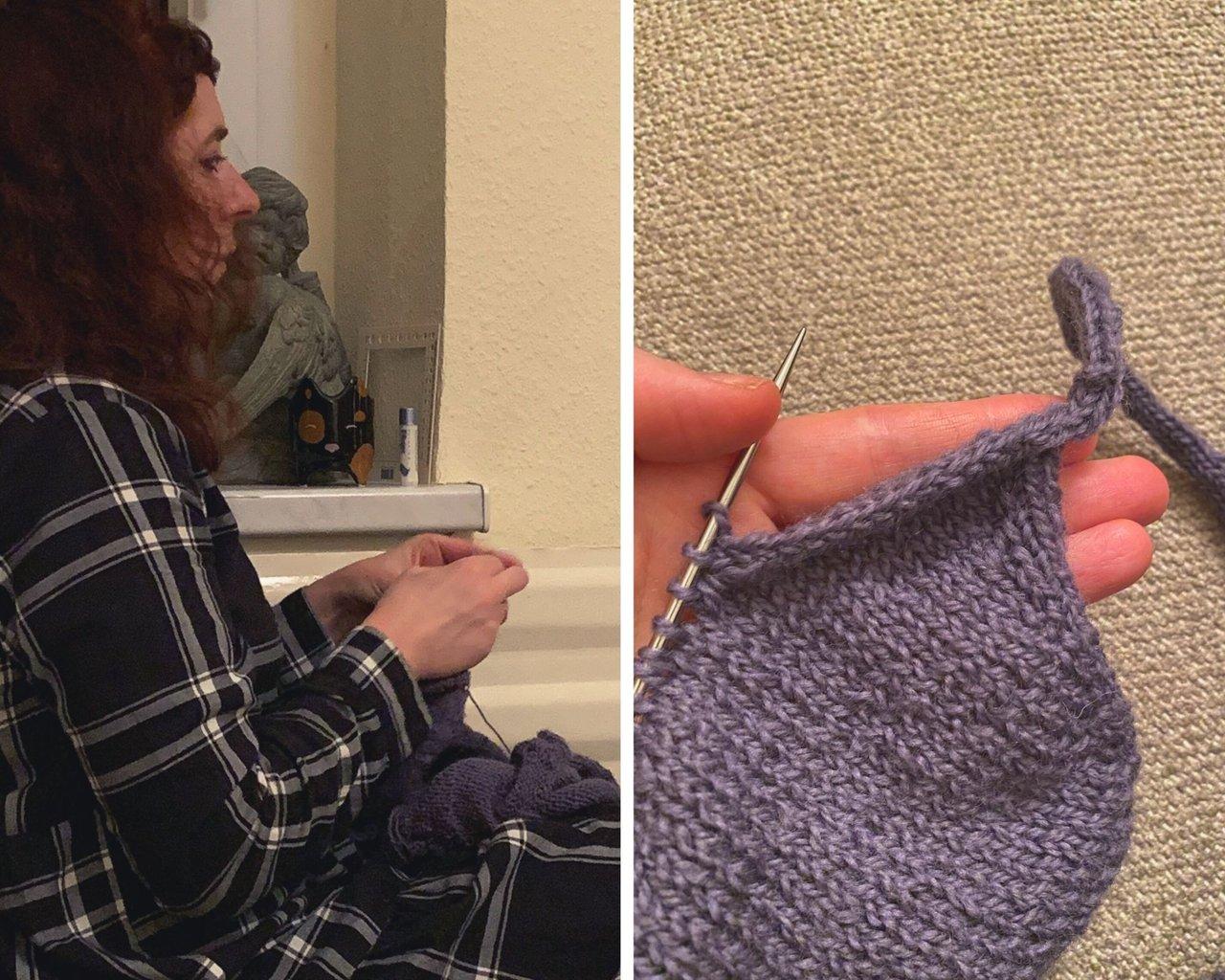 SImone knitting the i-cord bin off