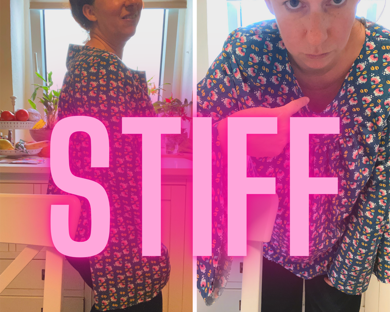 Simone wearing her handmade karlene blouse and showing the gaping neckline