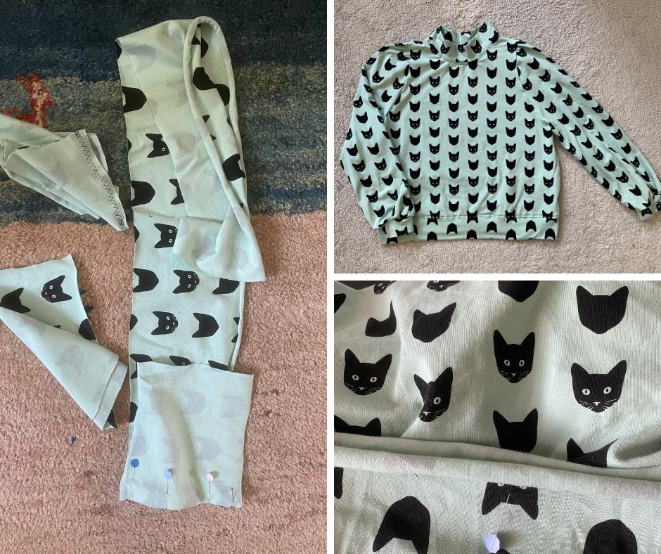 handmade puff sleeve sweater with black kitty pattern
