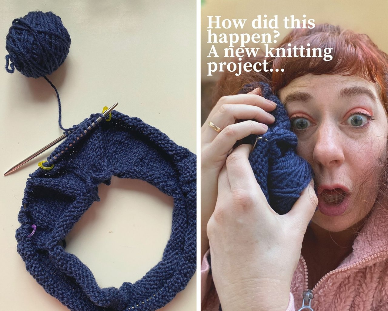 one photo of the beginning rows of a top down knitted cardigan and another where SImone makes a face and cuddles the knitting