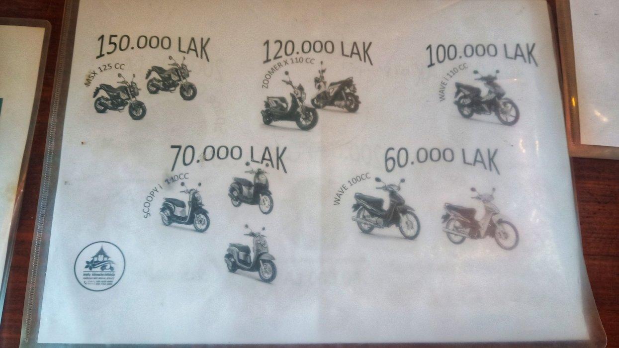 Anousay Bike Rental Service rates