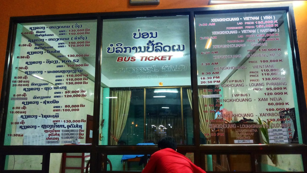 Phonsavan bus terminal schedule and rates