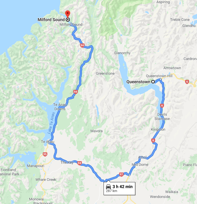 The route from Queenstown to Milford Sound [Google Maps]