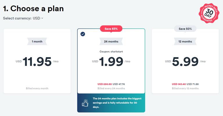 SurfShark price plan