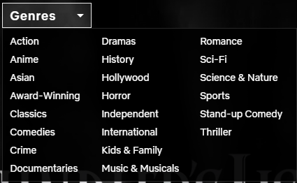 Limited genres to browse on Netflix