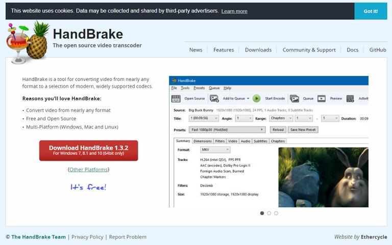 Handbrake website