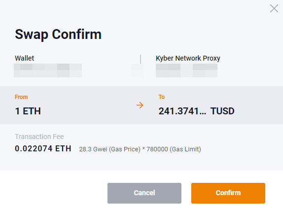 Fees required to swap ETH to TUSD on KyberSwap