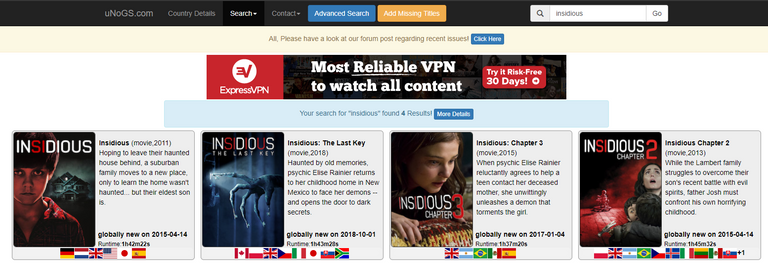 """Searching for """"Insidious"""" on uNoGS.com"""