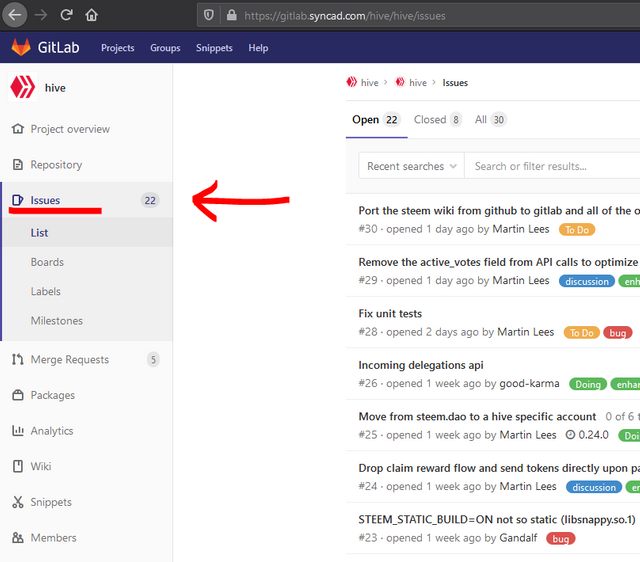 Where to find GitLab issues