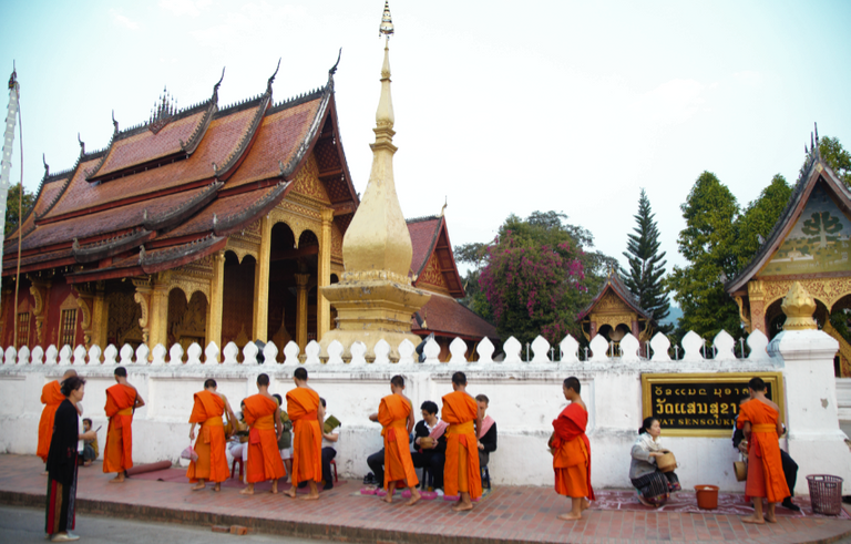 The monk still give their bless before going back to temple