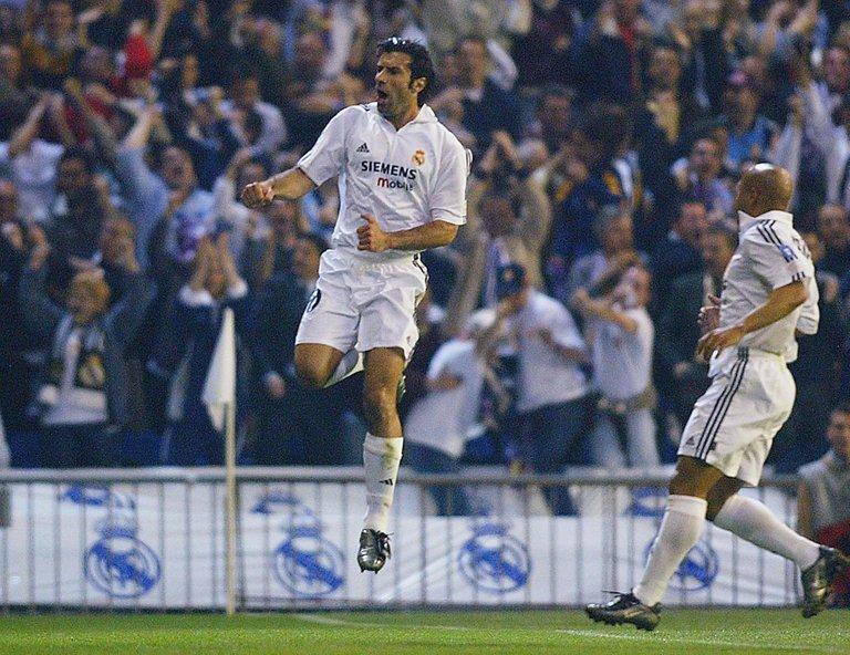 Luis Figo celebrating after opening the scoring https://linktr.ee/UEFAChampionsLeague