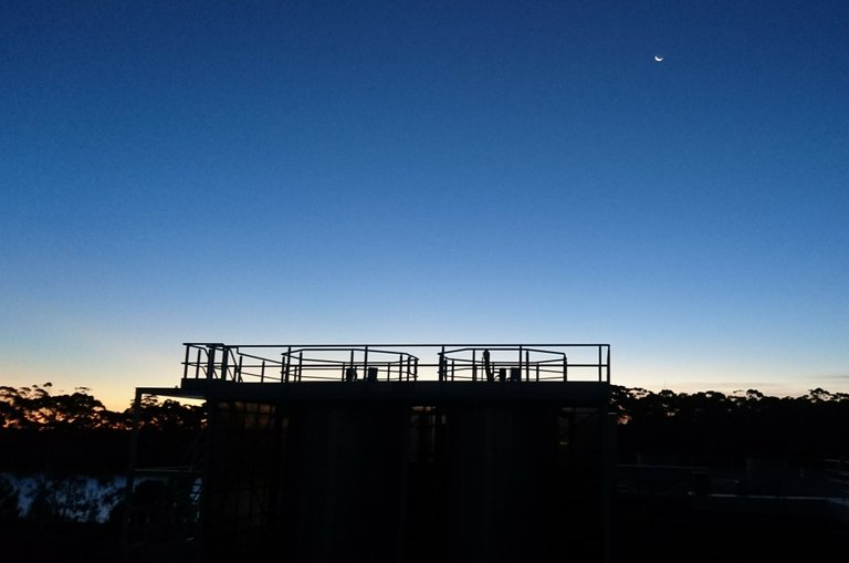 Lime Solution Siloes at Dusk - Water Treatment Plant