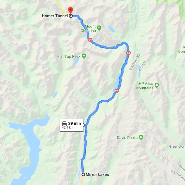 The route from Mirror Lakes to Homer Tunnel
